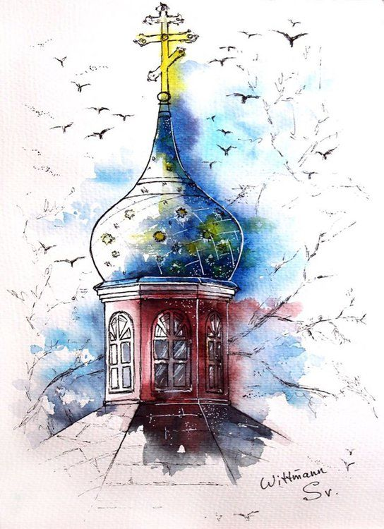 Beautiful Church Urban Architecture Sketch Original Watercolour