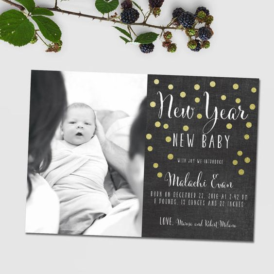 Years birth announcement New Year New baby chalkboard style – New Years Birth Announcements