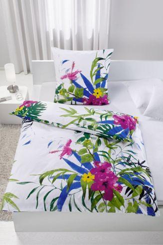 Bettwäsche aus 100% Polyester, multicolor mit Blätter. B/L: ca. 135/200cm und 80/80cm.