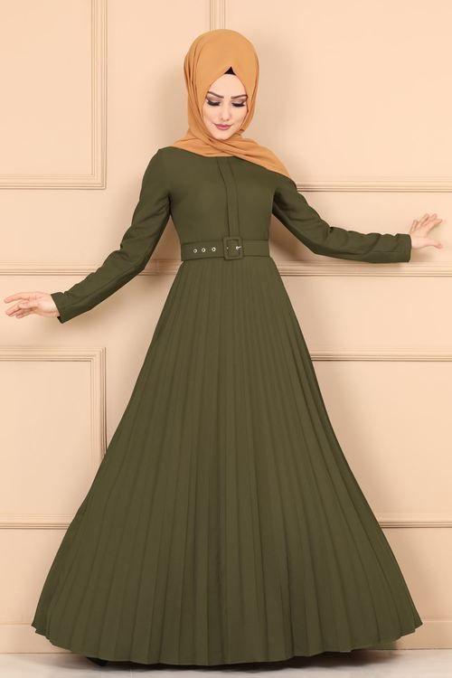 Modaselvim Elbise Piliseli Kemerli Elbise 2185ms212 Haki Gaun Prom Panjang Model Pakaian Gaun