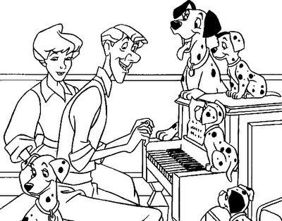 desenho 101 Dalmata cantando, colorir 101 Dalmata cantando