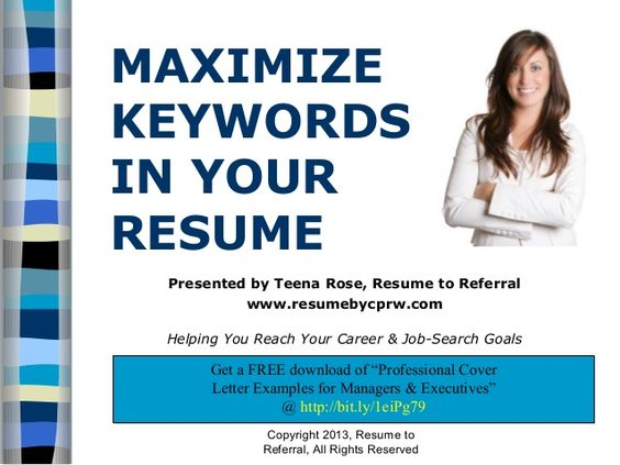 How to maximize keywords in your resume by ResumeToReferral - keywords resume