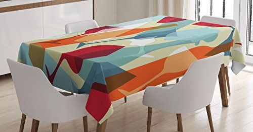 Wine Tablecloth By Ambesonne Modern Design Colorful Silhouettes Of Glasses Bottles Fun Party Artistic Dini Rectangular Table Kitchen Dining Room Table Covers