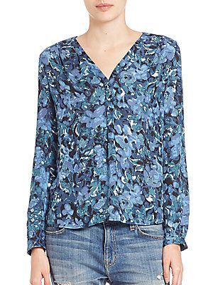 Joie Anthia Floral-Print Silk Blouse - Starry Night - Size