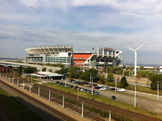 First Energy Stadium, home of the Cleveland Browns, before win over Bengals, 9/29/2013. Photo taken from back of City Hall.