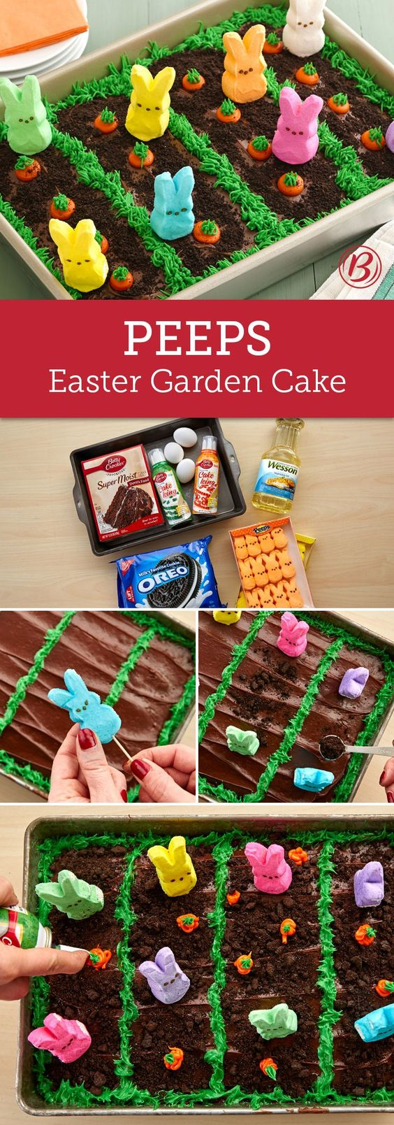 "An ordinary chocolate sheet cake gets transformed into an Easter garden scene with this creative recipe that is brought to life with Peeps! Bright orange and green frosting makes the carrots pop in their chocolaty ""dirt"" rows, while crumbled Oreos give the garden a perfect dusting. A too-cute treat the kids will love to see at the Easter dessert spread!:"
