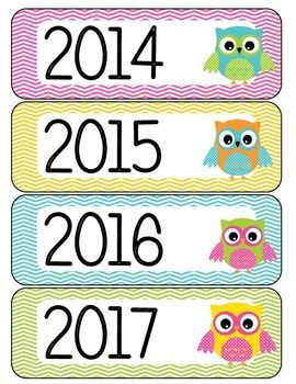 These are calendar year labels for your classroom calendar or math calendar area.Included are the years 2014 to 2021. These go great with my owl theme months and days of the week.