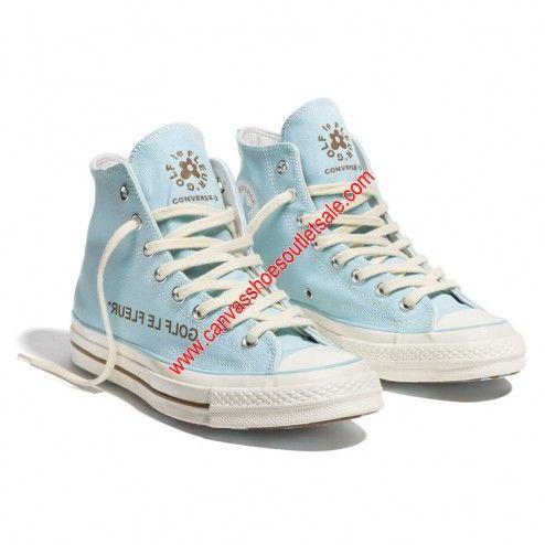 Converse Shoes X Golf Le Fleur Chuck 70 Canvas High Top Sky Blue Golf Le Fleur Shoes Cheap Vans Shoes Cheap Converse Shoes