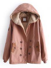 Dark Pink Hooded Long Sleeve Buttons Velvet Coat $63.63
