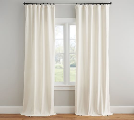 Velvet Twill Rod Pocket Curtain Ivory Ivory Curtains Curtains