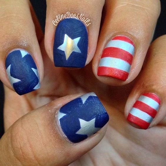 Matte Nail Design - Stripes + Stars