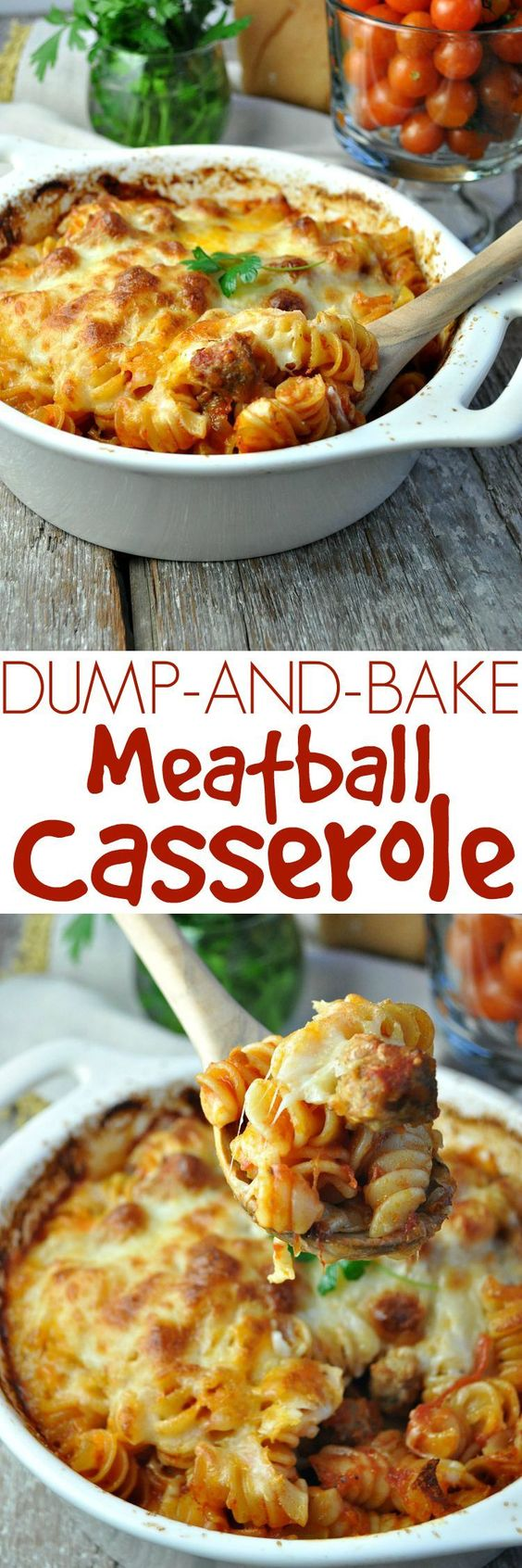 Dinner doesn't get any easier! No boiling the pasta and just 5 ingredients for this family-friendly comfort food: Dump and Bake Meatball Casserole!
