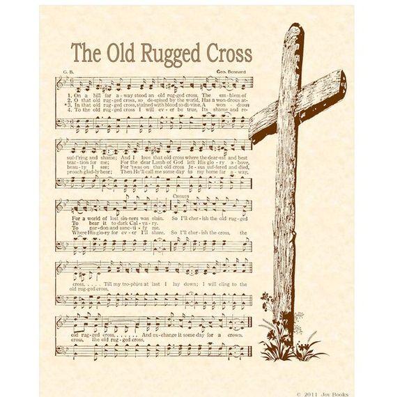 OLD RUGGED CROSS --- 8 X 10 Antique Hymn Art Print On
