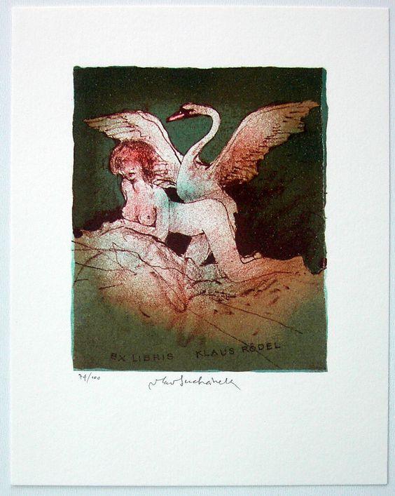 Künstler / artist: SUCHANEK VLADIMIR Thema / theme: Leda und der Schwan Technik / technique: L1 Lithografie Bildgröße / image: ca. 12x10 cm Papiergröße / paper: ca. 20x14,5 cm