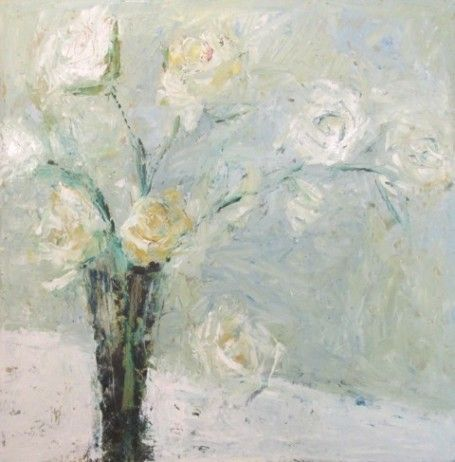 Gorgeous pastel white roses painting by Holly Irwin. Beautiful Souls Healing With Art: Holly Irwin