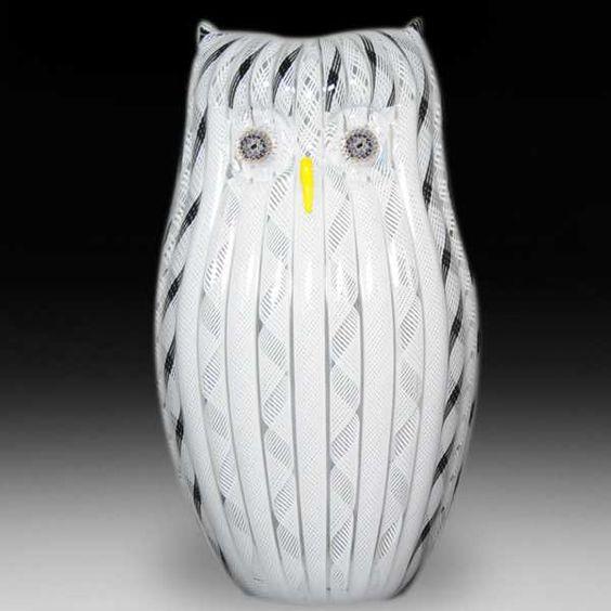 Mike Hunter 2013 latticinio owl sculpture. by  Twists Glass Studio