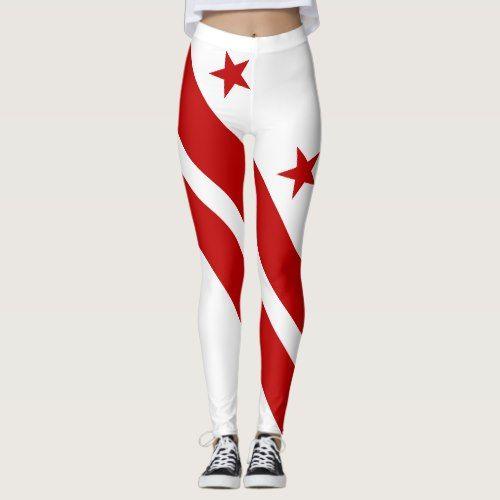 Patriotic Washington Dc State Flag Leggings Zazzle Com In 2020 Washington Dc State Patriotic State Flags