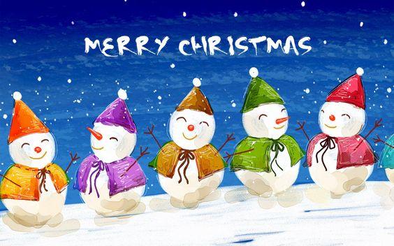 Muñecos de nieve, color wallpaper