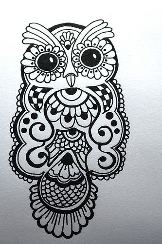 ink drawing of a henna-type owl design: paper product for a baby ...