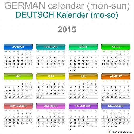 German Calendar 2015 - Deutsch Kalender