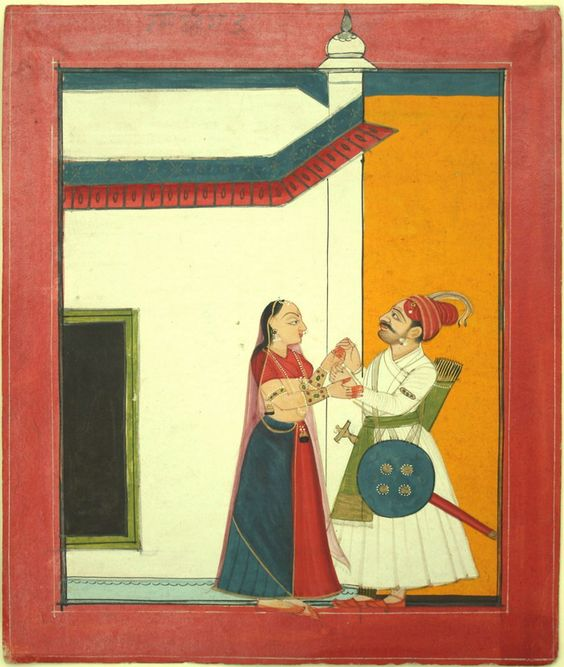 www.IndianMiniaturePaintings.co.uk - A ragamala illustration: Aghada Ragaputra. Pahari at Bilaspur, circa 1750. Opaque watercolour with gold on wasli (hand-made paper for miniature painting). 22 x 18.6cm