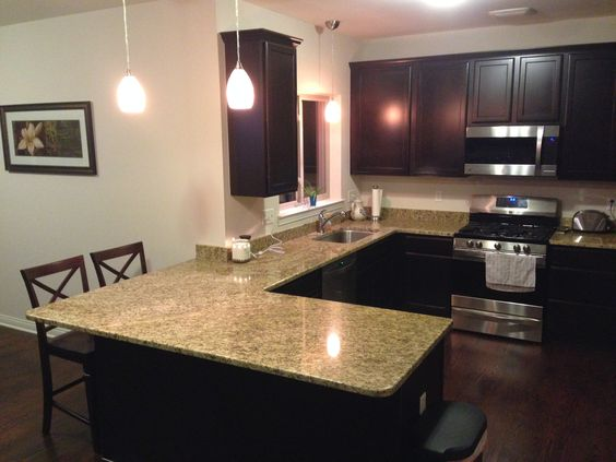 I love my kitchen; mosiac pendant lights, giallo ornamental granite, ebony cabinets, 3in finished oak flooring and stainless steel appliances.  <3