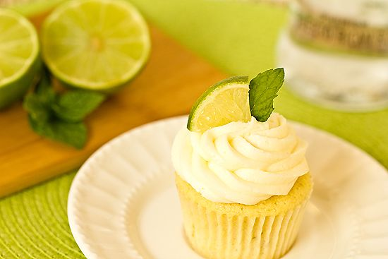mojito cupcakes--infused with rum, lime, & mint.