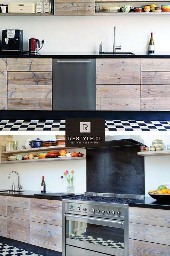 Steigerhouten keuken van restylexl. in combinatie met zwart witte ...