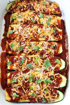 Black Bean and Quinoa Enchilada Zucchini Boats Recipe on twopeasandtheirpod.com…