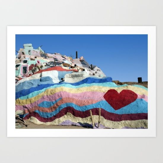 """The infamous """"Salvation Mountain"""", one of southern California's most popular road trip destinations, created by outsider artist Leonard Knight to spread the message """"God Is Love""""<br/> <br/> Bring those SoCal vibes into home with this print.<br/> <br/> © 2016 The Aesate"""