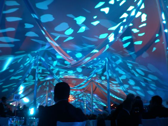 swagged fabric in a 60 wide pole tent with programmable lighting