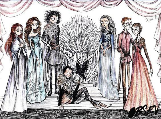 """Já imaginou como os personagens de """"Game of Thrones"""" ficariam sob a estética de Tim Burton? A estudante Xenia Rassolova imaginou e ficou incrível."""