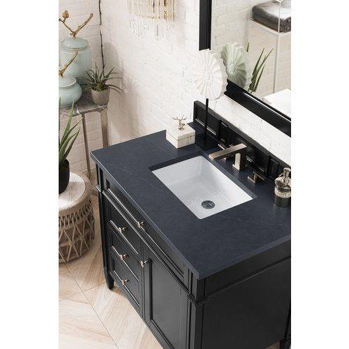 James Martin 36 Inch Brittany Single Sink Vanity With Charcoal Soapstone Top Black Onyx 650 V36 Bko 3csp Quartz Vanity Tops Vanity Tops With Sink Single Sink Vanity 36 inch black bathroom vanity