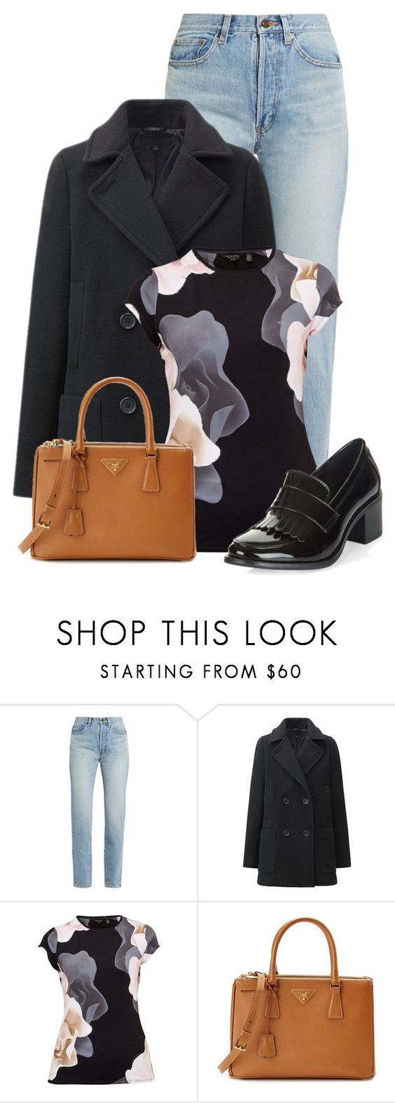 """Untitled #19710"" by nanette-253 ❤ liked on Polyvore featuring Yves Saint Laurent, Uniqlo, Ted Baker, Prada and New Look"