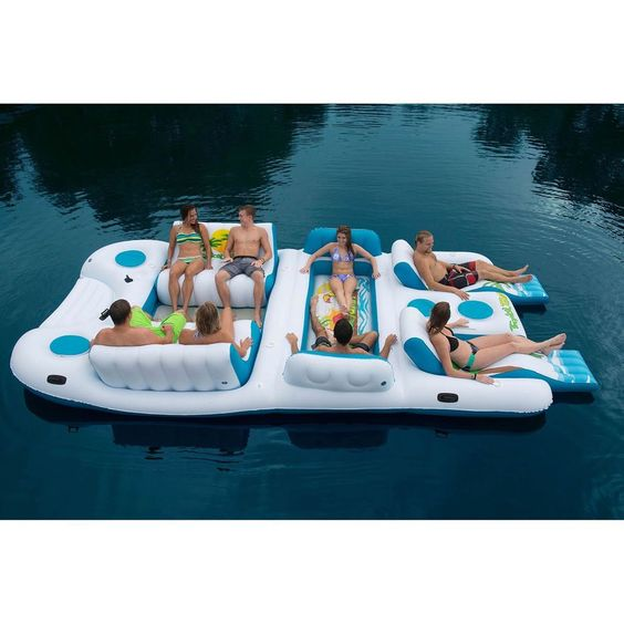 Giant 8 Person Inflatable Raft Pool Ocean Large Floating Island Huge Lake New #TropicalTahiti