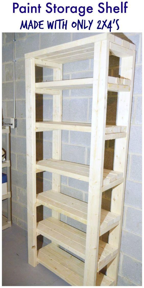 Paint storage shelf made with 2x4s garage storage for 2x4 cabinet plans