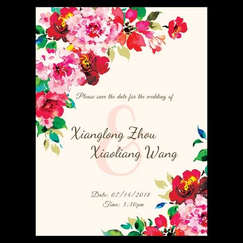 Single Page Wedding Invitation With Red Flower Theme Card Or Invitation Contest Design Card Invitation Picked Wedding Invitations Invitations Red Flowers