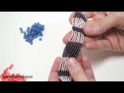 http://www.beadaholique.com/yt - how  to do Square Stitch  http://www.beadaholique.com/t-ba-project-B161.aspx?utm_source=YouTube_medium=social-media_campaign=default        I don't like the bracelet design, but video is good for square stitch technique