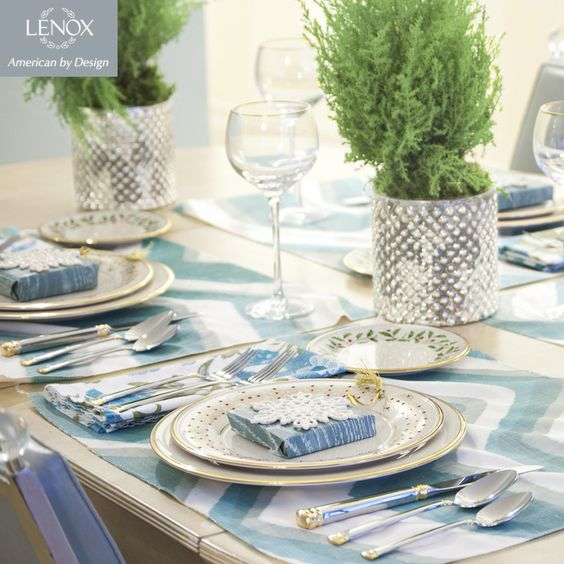 """Lenox Holiday Table Top, """"White Christmas,"""" designed by @taraseawright #tabletop #lenox #holiday #christmas #tablescape"""