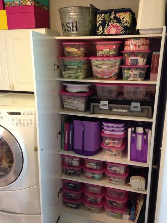 Laundry room craft closet