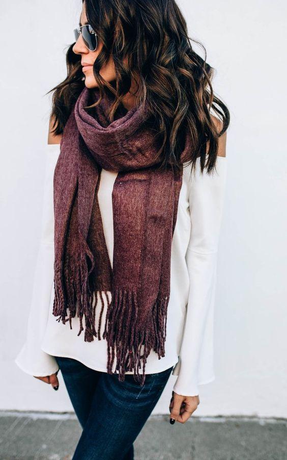 Wide tassel blanket scarf