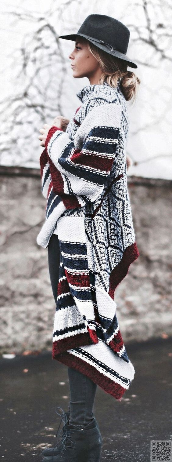 4. #Oversized Cardigan - 26 #Fabulous Outfits to Wear with #Streetstyle Hats…: