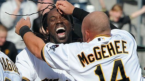 Game 3 (4/8/12)- Celebration after Cutch's walk-off single.