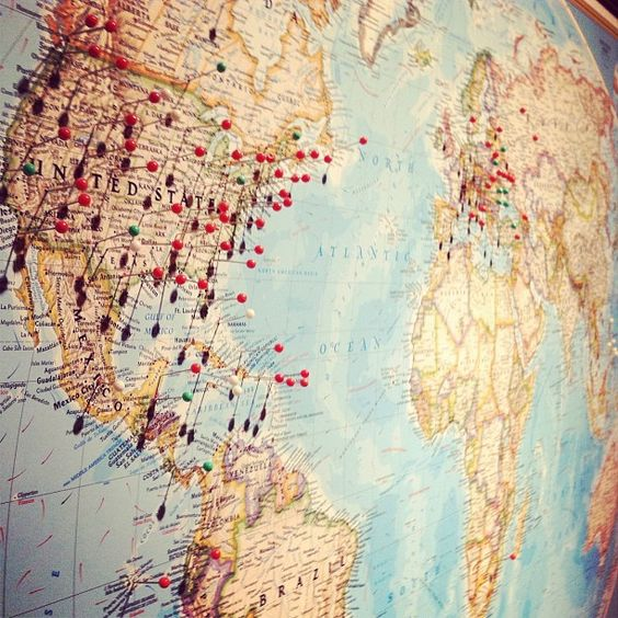 To map travel spots Going to have one that covers one huge wall – Places Traveled Map