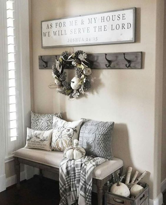 Entry bench and decor mud room As for me and my house, we will serve the Lord.