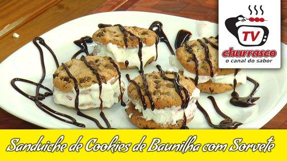 Receita de Sanduíche de Cookies de Baunilha com Sorvete - TvChurrasco