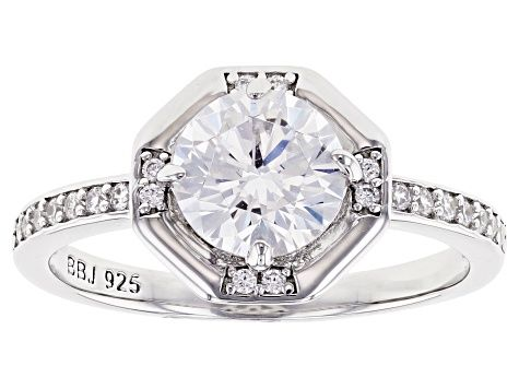 White Cubic Zirconia Platinum Over Sterling Silver Ring 2 42ctw Bln991 In 2020 Sterling Silver Rings Silver Rings Jewelry