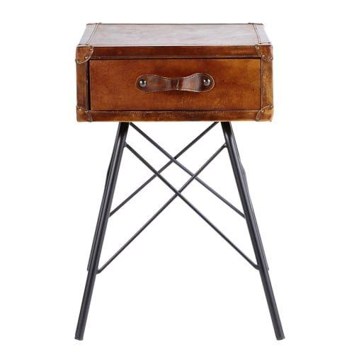 Side Table Met 1 Lade.Nachtkastje Met 1 Lade Van Zwart Metaal En Bruin Leer In