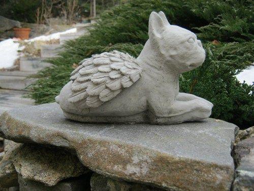 Boston Terrier Angel Garden Statue, Concrete Pet Memorial