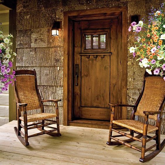 We would love to sit in these handmade wicker rockers and watch the leaves change colors from the wide covered porch of this cottage set deep in the hardwood forest of North Carolina's Blue Ridge Mountains.